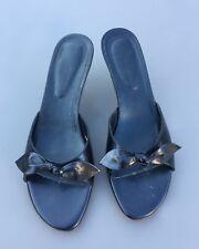 LK Bennett Sandal Mules 8 41 Black Mid Heel Leather Peep Toe Bow Summer Holiday