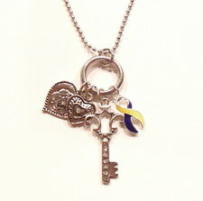 Down Syndrome Awareness Necklace KEY TO MY HEART Charms Silver IN GIFT BOX
