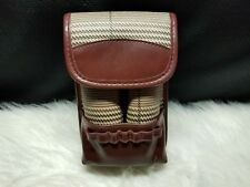 Golf Ball & Tee Holder Pouch, Brown Faux Leather & Cloth (Holds 6 Balls, 7 Tees)