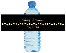 Black background with Glowing Market lights Wedding Water Bottle Labels