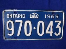 ONTARIO LICENSE PLATE 1965 970 043 CROWN VINTAGE CANADA MAN CAVE SHOP SIGN DECOR