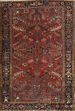 Antique All-Over Geometric Heriz Area Rug Hand-Knotted Living Room Wool 7'x10'