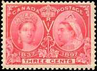 Canada #53 mint VF OG NH 1897 Queen Victoria 3c bright rose Diamond Jubilee