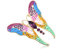 Painted Flutter Butterfly Pin Brooch Colorful Crystal Elements Vibrant Colors