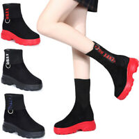 Womens Punk Platform Wedge Ankle Sock Boots Ladies Casual Combat Shoes