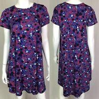 NWT LulaRoe XXS Purple Carly Floral High Low Knit Flare Trapeze Shirt Dress