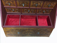 Wood & Leather Jewelry Box Chest Hand Tooled 'Antique