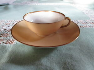 Moccha Cup Bing & Gröndahl Very Noble Form Beige with Golden Rim Hand Painted