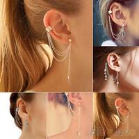EG_ 1PC Rock Punk Tassels Metal Chain Charms Pendant Dangle Ear Cuff Wrap Earrin