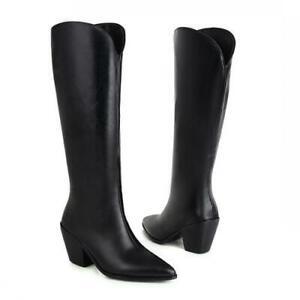 Punk Ladies Knee High Boots Women Block Heel Winter Warm Riding Shoes 46 47 48