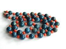 vintage necklace LAPIS LAZULI beads genuine CORAL