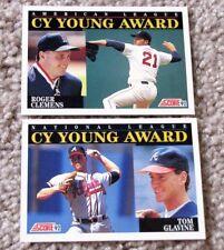 2 for 1 1992 Score MLB ROGER CLEMENS & TOM GLAVINE Cy Young Award Winner Cards