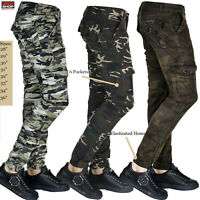 Mens Bottoms Brave Soul Camouflage Skinny Slim Fit Military Army Joggers Jogging