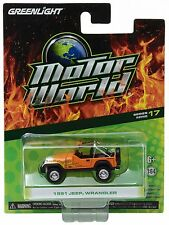 1:64 GreenLight *MOTOR WORLD R17* Orange w/Flames 1991 Jeep Wrangler 4x4 *NIP*