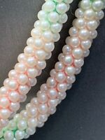 "Vintage Pastel Round woven imitation pearl beaded Necklace 32"" Sterling Clasp"
