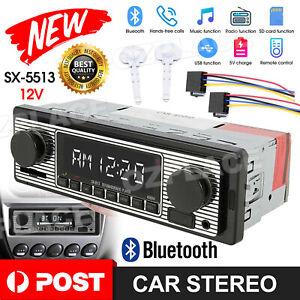 Car Stereo Radio Bluetooth Vintage Head Unit Player USB AUX/MP3//SD/AUX-IN/FM