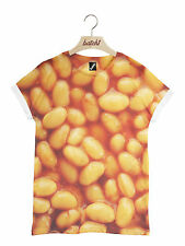 Batch1 Baked Beans All Over Fashion Print Novelty Fast Food Unisex T-shirt L