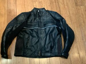 MENS MOTORCYCLE RIDING JACKET IN BLACK / SIZE XL / MADE IN PAKISTAN !