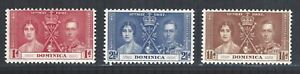 Dominica GVI 1937 Coronation sg96 to sg98 MM