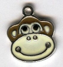 Happy monkey head alloy charm or pendant.
