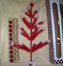 24 INCH ARKANSAS RAZORBACKS REAL GOOSE FEATHER CHRISTMAS TREE WITH ORNAMENTS