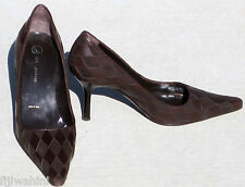 NEW ST JOHN BROWN LEATHER SUEDE HEELS PUMPS SHOES 6.5M ITALY