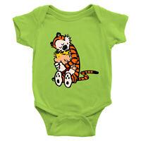 Hugging Best Friends Comic Tiger Calvin Hobbes Infant Baby Boy Girl Rib Bodysuit