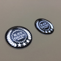 Domed Resin Gel Stickers - BLACK EDITION 30mm dia x 2 - Exterior Use