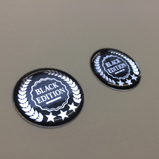 BLACK EDITION STICKERS X 2 - HIGH GLOSS DOMED GEL FINISH 30mm Diameter
