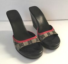 VTG Gucci GG Red Black Logo Canvas Sandal Platform Mule Sz 6 6.5