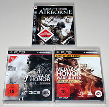 3 PS3 SPIELE SET - MEDAL OF HONOR TIER 1 WARFIGHTER LIMITED AIRBORNE FRONTLINE