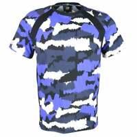 Cavalli Class Cotton Camouflage Print Blue T-Shirt