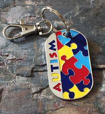 Rhodium Plated Autism Puzzle Design Keychain Autism Awareness Ladies Mens Gift