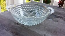 Vintage Opalescent Hobnail Two-Handled Round Bowl