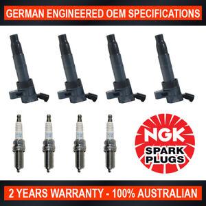 4x NGK Iridium Spark Plugs & 4x Swan Ignition Coils for Hyundai iLoad iMax TQ