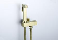 Square Toilet Brass Bidet Brushed Gold Handheld Shower Spray&Hose&Shut Valve Kit