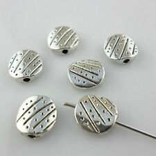 16pcs Flat Round Antique Silver Charm Spacer Beads Jewelry Findings 9.5*10mm