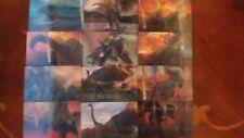 PANINI JURASSIC WORLD FALLEN KINGDOM  HOLOGRAPHIC LENTICULAR STICKER CARD X1-X12