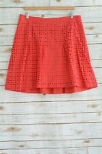 Garnet Hill - Red-pink pleated EYELET cotton skirt, size 12