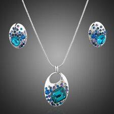 18k White Gold Plated Blue Austria Crystals Stones Jewelry Set Necklace Earrings