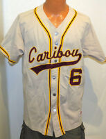 vtg CARIBOU VIKINGS BASEBALL GAME Jersey LARGE Ripon 90s team issue #6 gray L