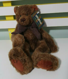 KORIMCO RICH TEDDY BEAR BROWN WITH RED PLAID BOW 30CM