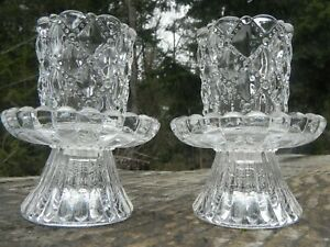 PartyLite quilted crystal 4 piece set pair base w/candle votive holders P9246