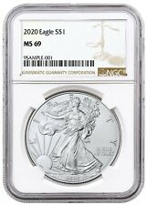 2020 1oz Silver Eagle Ngc Ms69 - Brown Label