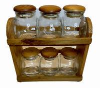 Vintage Wooden Spice 2 Shelf Rack with 6 Bottles & Lids Farmhouse Style