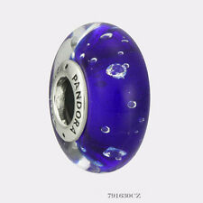 Authentic Pandora Sterling Silver Murano Dark Blue Effervescence Bead 791630