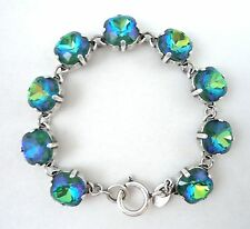 CATHERINE POPESCO 12mm Mermaid Blue Green Swarovski Crystal Silver Bracelet