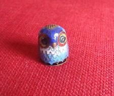 Cloisonné Enamelled Owl Thimble, Blue, 24mm high