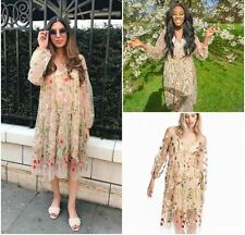 *SOLD OUT*H&M Trend SPRING COLECTON Powder Beige Floral Embroidered Dress XS/S