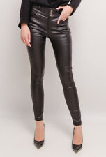 Ladies faux Leather High waist Skinny Biker Trousers Black Sizes UK 6-14